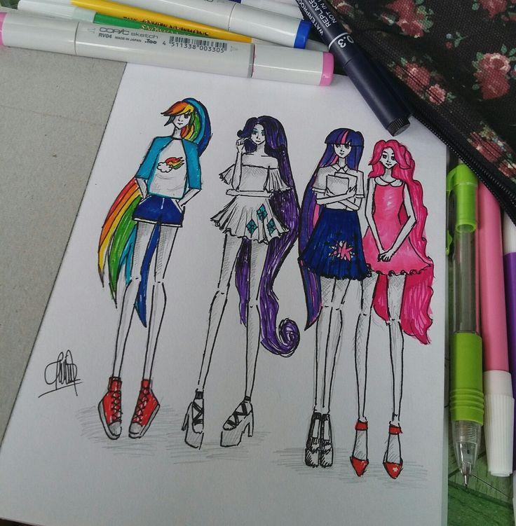 #copic #fashion #illustration #mylittlepony #little #pony #rainbowdash #rarity #twilight #sparkle #pinky #pie #pinkypie