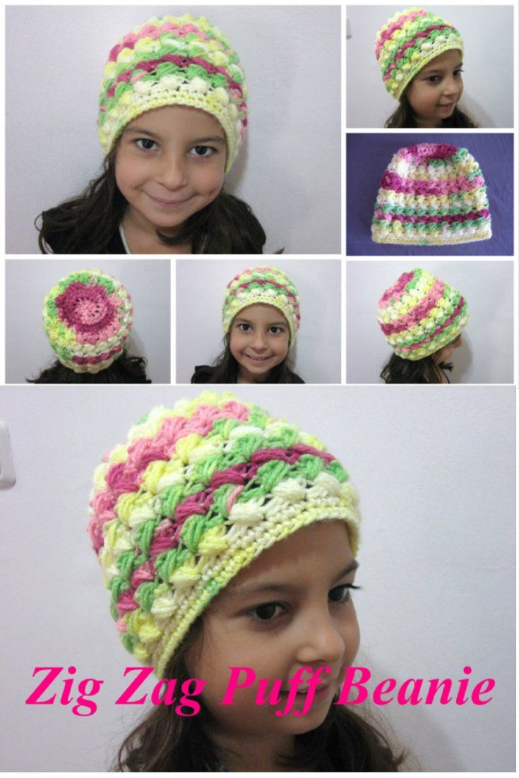 Zig Zag Beanie – Free Crochet Pattern that comes with video tutorials for both right and left handed. By Meladora's Creations