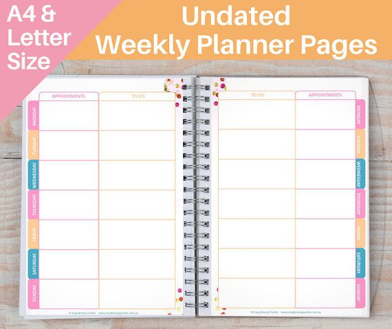 UNDATED Printable Weekly Planner Pages  2 by EasyBreezyParties