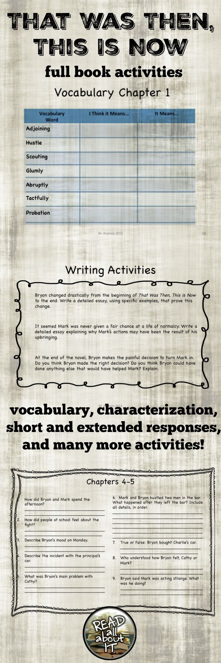 1000 images about k 12 book activities making this is a 17 page packet filled discussion questions for each chapter vocabulary words and definitions for each chapter test questions and writing