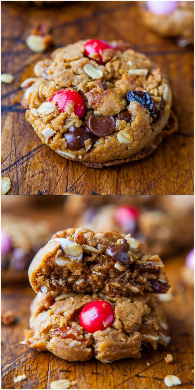 Trail Mix Peanut Butter Cookies (GF) - NO Butter & NO Flour in these healthier cookies with trail mix baked right in! Super chewy with lots of little goodies in every bite!