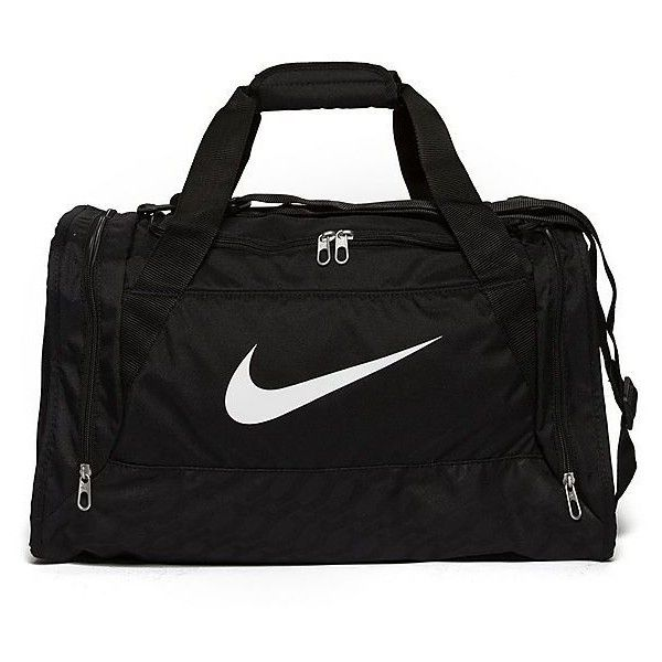 Nike Brasilia Small Duffle Bag ($30) ❤ liked on Polyvore featuring bags, black, strap bag, black zipper bag, black duffel bag, black duffle bag and zip bags