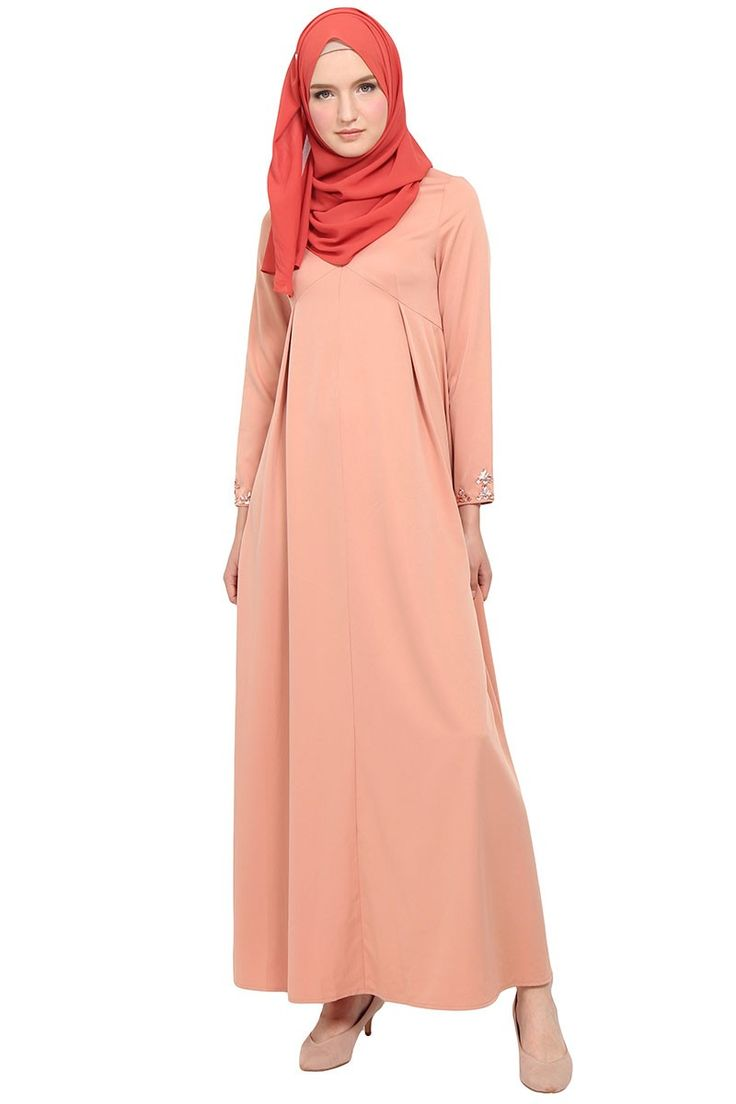 Catriona Zip-Front Beaded Cuff Maxi Dress - Dusty Pink