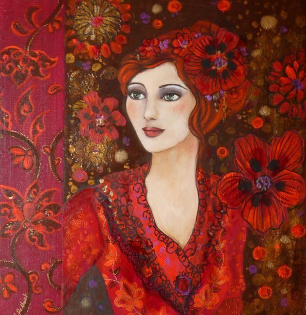 Portrait de femme ,fleurs arabesques, esprit poetique et baroque Acrylique sur toile
