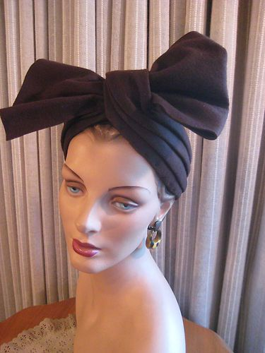 STAND OUT 40'S TURBAN STYLE HAT W/LRG FRONT FELT BOW | eBay