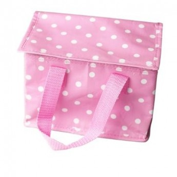 Pink Polka Dot Lunch Bag