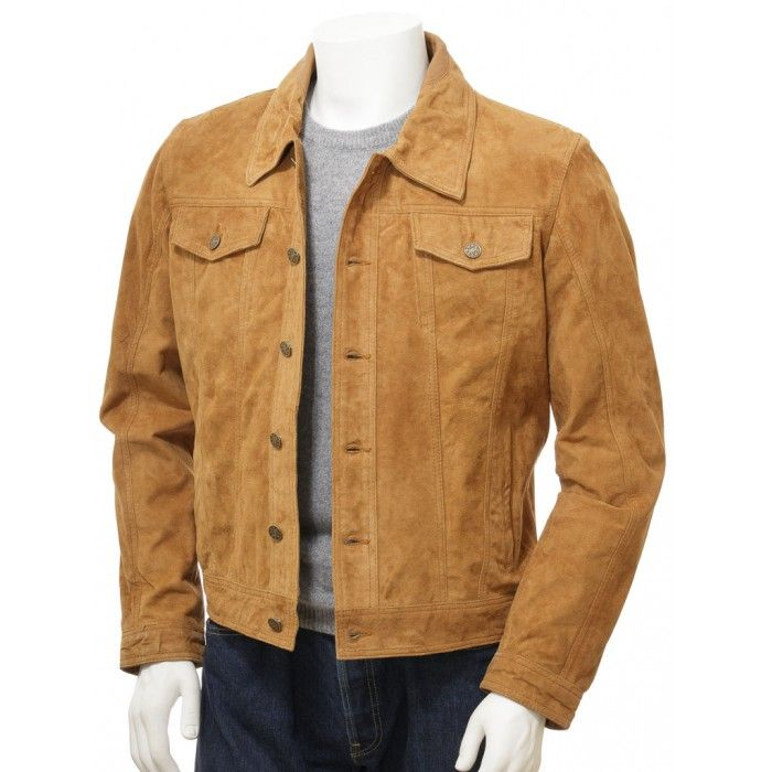 Finest Collections Men Brown RG Suede Real Leather Jacket