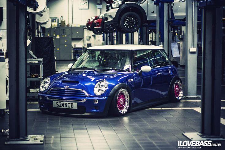 I Love Bass  Mini Cooper Model: Color: Blue  Mod List BBS RS Wheels – Pink centers