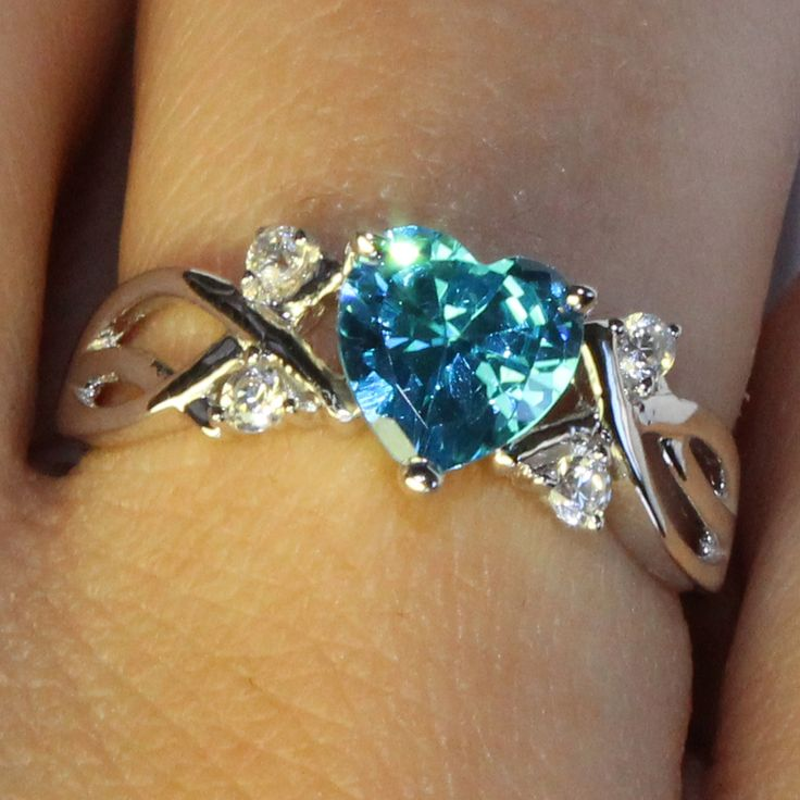 Aquamarine Heart Shaped Ring – Aqua Cubic Zirconia from Beautiful Promise Rings