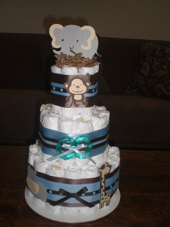 Safari Jungle Theme Diaper Cake Baby Shower Centerpiece  other colors and sizes too via Etsy