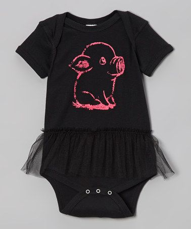 LOVE THIS!  Take a look at this Black & Pink Pig Skirted Bodysuit - Infant by Rainbow Swirlz on #zulily today!