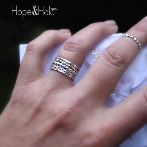 Mix & Match Stacking Ring Set in Sterling Silver 5 by HOPEandHALO, $44.60