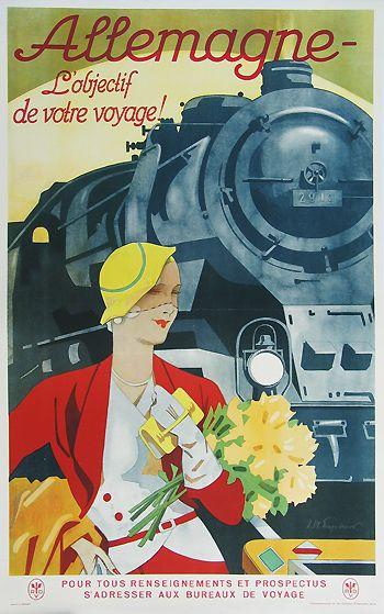 Vintage Germany Train Travel Canvas Poster Art                                                                                                                                                                                 Más
