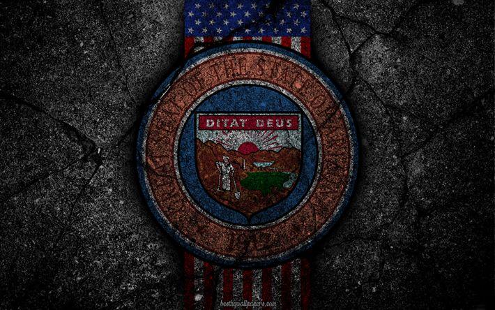 Hämta bilder Arizona State vapen, grunge, Arizona symbolik, Coat of arms of Arizona, Amerikanska flaggan, Arizona vapen, USA
