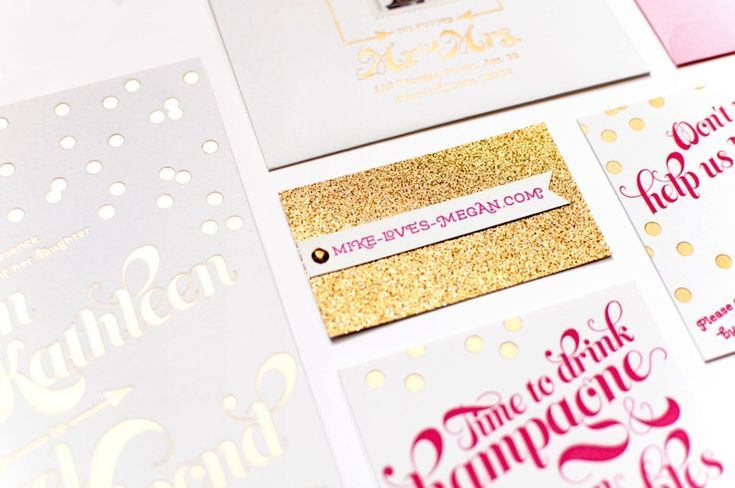 Pink and Gold Foil Wedding Invitations by Coral Pheasant via Oh So Beautiful Paper (5)