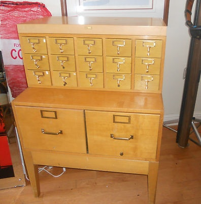 Vintage Industrial Globe-Wernicke Stacking Library Card Catalog File Cabinet