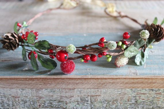 Holiday Charm! This Gorgeous Headpiece is adorned with red holly berries, sweet little oincenes, winter green boxwood leaves and a little shimmering frost ... perfect for your holiday gatheringm gifts, childs Holiday photo shoot or wedding :)    Please read my shop policies for production and turn around times, If you need this quick just let me know :)    http://www.etsy.com/shop/deLoop/policy?ref=shopinfo_policies_leftnav    See my entire shop at:  http://www.etsy.com/shop/deLoop