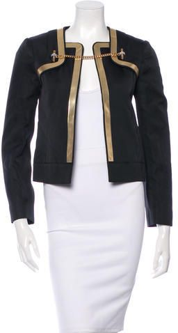 Gucci Metallic Leather-Trimmed Silk Jacket w/ Tags