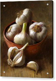 Garlic Acrylic Print by Robert Papp