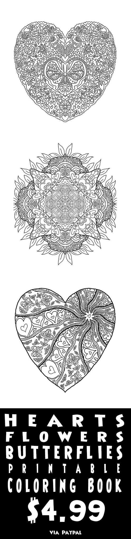 Heart flower coloring pages - Relax And Unwind With 25 Pages Of Heart Flower And Butterfly Coloring Sheets