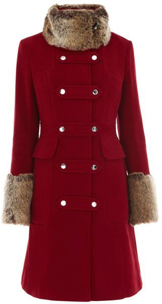 Moleskin with Fur Trim - KAREN MILLEN ENGLAND