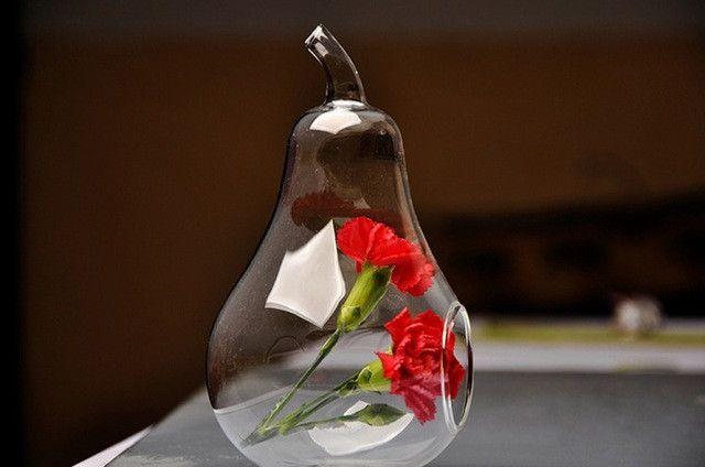 1pc Apple Pear Crystal Glass Flower Vase Dinner Planter Terrarium Container Hydroponic Pot Home Wedding Decor