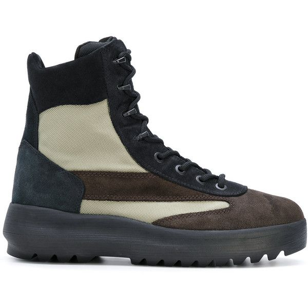 Yeezy lace-up boots (4,085 CNY) ❤ liked on Polyvore featuring men's fashion, men's shoes, men's boots, mens leather shoes, mens lace up boots, mens multi colored shoes, colorful mens shoes and mens leather lace up shoes