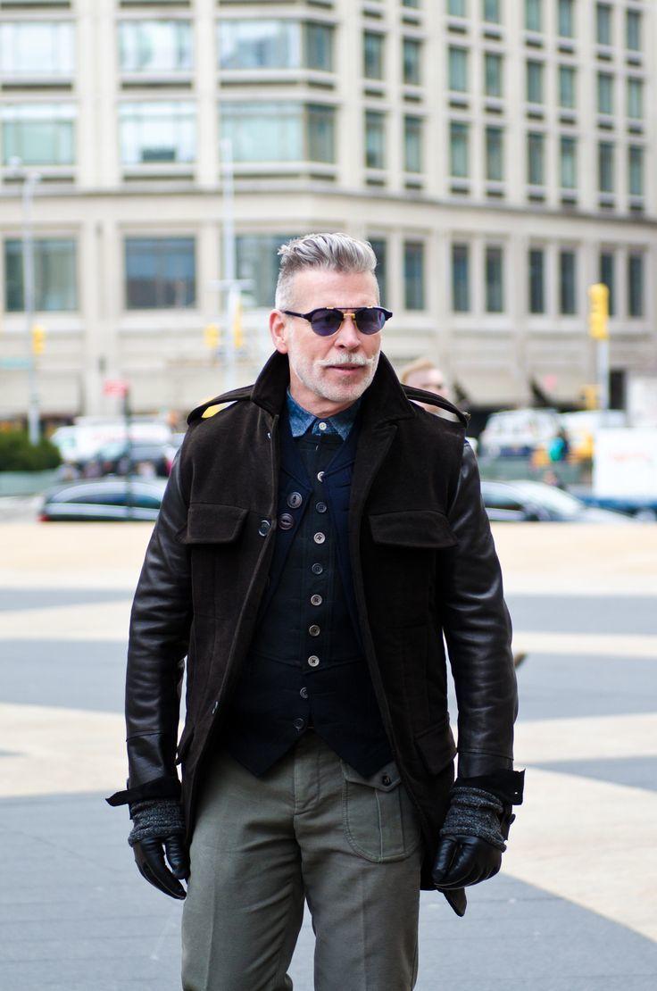 Black or brown leather gloves - Nick Wooster Wearing Dark Brown Leather Military Jacket Black Cotton Waistcoat Blue Denim Shirt Grey Cargo Pants