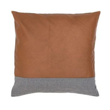 Beautiful butter soft leather cushion with grey linen contrast stripe and backing. This leather pillow forms the perfect base, for layering with other textures, colours and shapes in any interior.