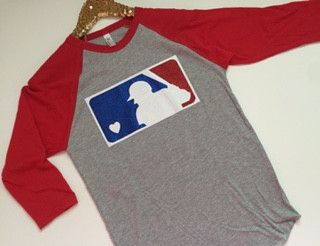 MLB Glittter - Raglan - Jersey Shirt - Ruffles with Love - Design Your Own - Customize Heather gray raglan with red sleeves complete with a glitter mlb logo