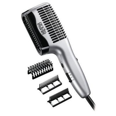 Dual Voltage Andis Ceramic Side Styler Blow Dryer with Combs and Brush #80345 1875 Watt professional ceramic hair dryer with high velocity blowing power, 3 air/heat settings, turbo boost and cool shot button. Complete with 3 attachments; 100% boar bristle brush great for thick hair, wide tooth comb for detangling and fine tooth comb for smoothing. Dual voltage for worldwide use. Only $35.00