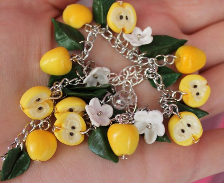 Jewelry Bracelet /Yellow Apples / Handmade / gift / Polymer clay #Handmade #Chain