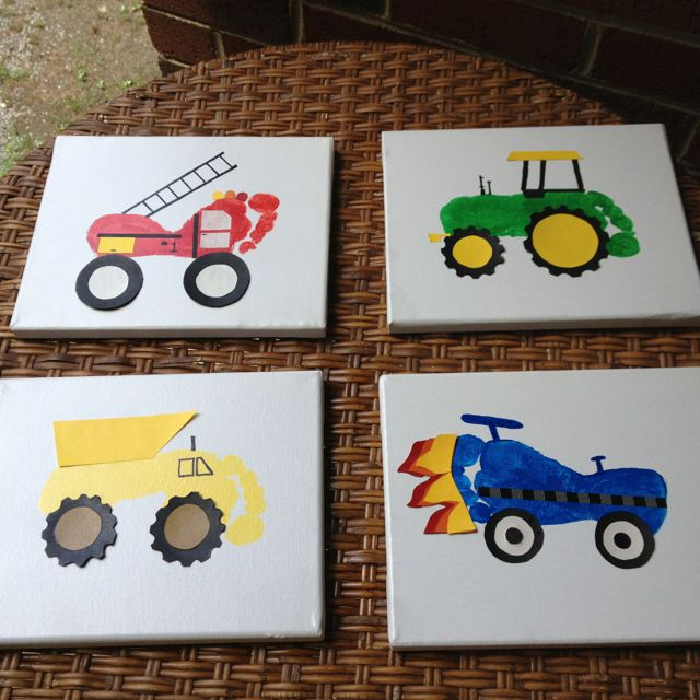 Foot print trucks. Too cute! I need 2 firetrucks for the boys room and 2 tractors for the kitchen!