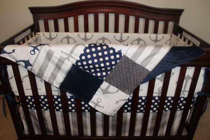 Nautical Baby Crib Bedding - Gray Anchors, Navy Dot, Gray Stripe, and Navy Crib Bedding Ensemble with Blanket or Patchwork Blanket by DesignsbyChristyS on Etsy https://www.etsy.com/listing/216134457/nautical-baby-crib-bedding-gray-anchors
