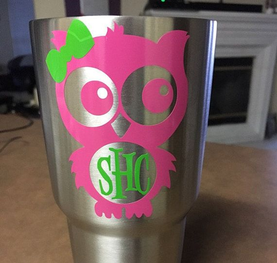 Best Monograms Images On Pinterest Vinyl Decals Yeti Decals - Best vinyl for cups