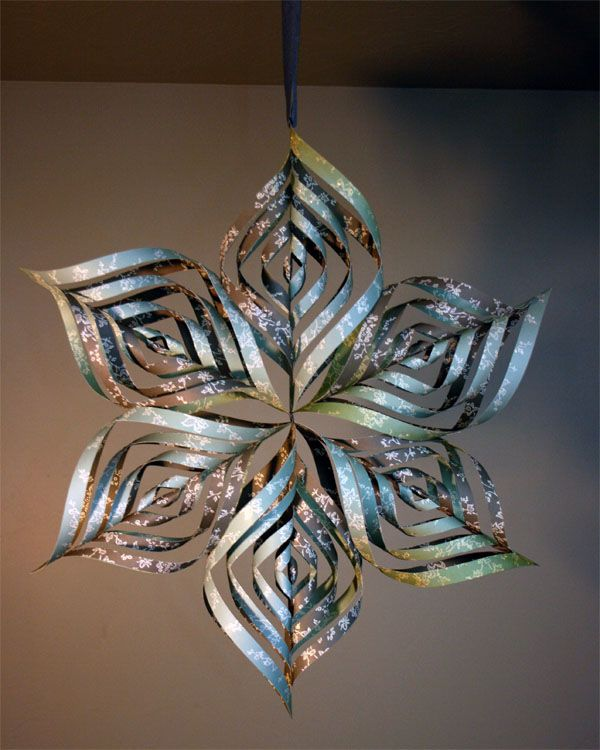 Paper snowflake can also make smaller ornaments using for 3d hanging snowflake decoration
