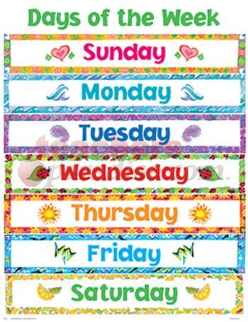 printable days of the week cheap charts days of the week from teacher. Black Bedroom Furniture Sets. Home Design Ideas