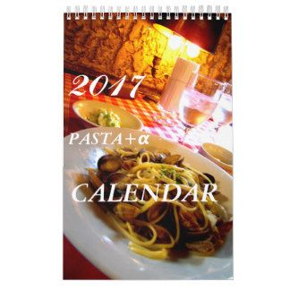 イタリアンでの様々なパスタ+α スイーツorサラダの写真の2017年カレンダー日本用 カレンダー
