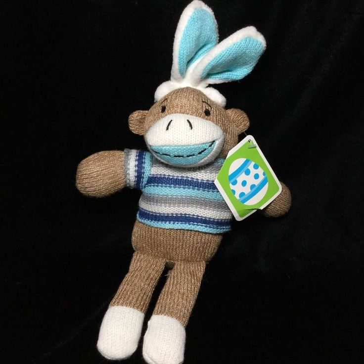 "Dan Dee Easter Bunny Rabbit Sock Monkey Brown Blue Plush Walmart Toy Tags 13"" #DanDee"