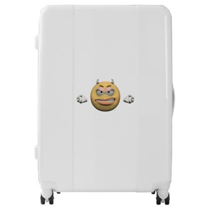 #Angry emoticon female luggage - #custom #luggage #suitcase #suitcases #bags #trunk #trunks
