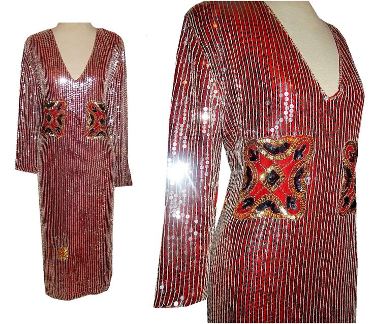 Vintage 80's Red Gold SEQUIN Flapper Style Cocktail Dress // 1980's Formal Cruise Beaded Sequins Party Dress by TheVintageVaultShop on Etsy