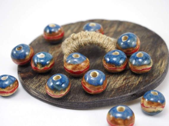 Colorful ceramic bead #etsy #ceramics #necklace #beads #handmade