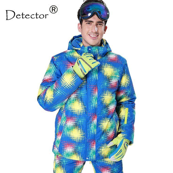 Detector men's ski jacket Blue print winter outdoor ski suit Height waterproof,breathable ski jacket warm snowboard jacket