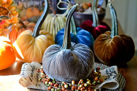 1 Large Steel Gray Silk Velvet Pumpkin Fall by TheVelvetHarvest