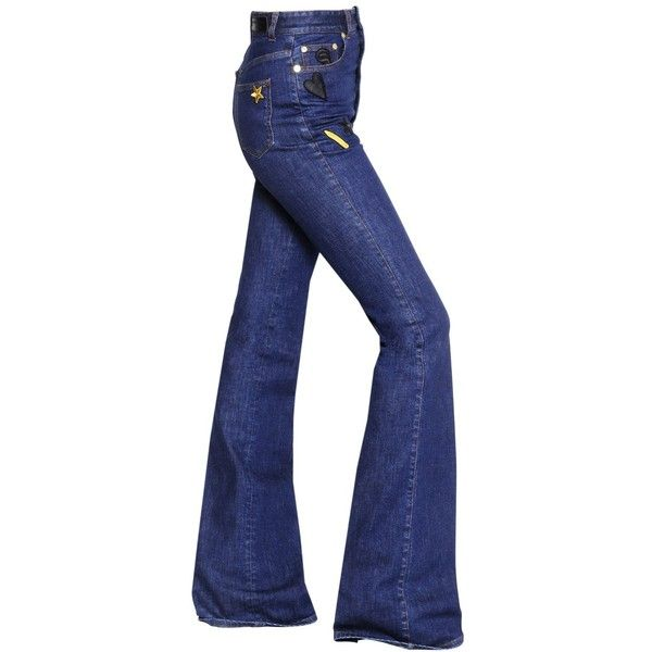 Sonia Rykiel Women High Waist Flared Denim Jeans W/ Patches ($900) ❤ liked on Polyvore featuring jeans, blue, patched jeans, 5 pocket jeans, high-waisted jeans, high waisted jeans and high rise flared jeans