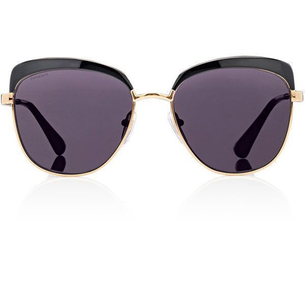 Prada Women's Oversized Sunglasses ($310) ❤ liked on Polyvore featuring accessories, eyewear, sunglasses, black, logo lens sunglasses, oversized round glasses, clear lens glasses, prada sunglasses and clear glasses