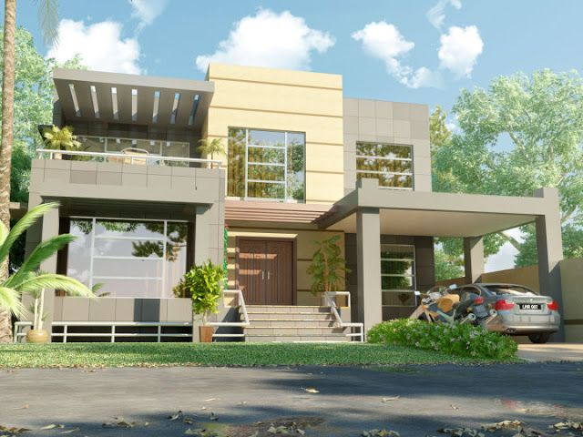 3d front elevation beautiful modern 1 kanal home 3d front for Latest house elevation