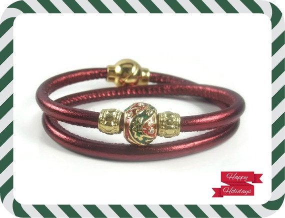 Red Christmas Leather Bracelet Womens by RealLeatherBracelets