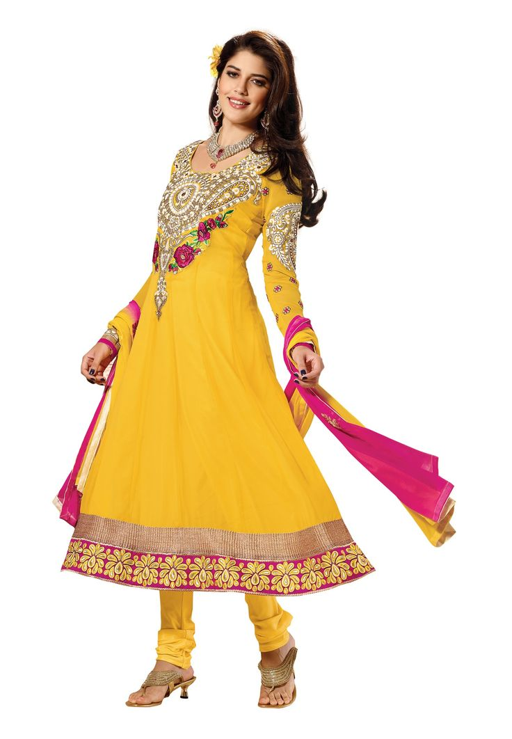 Yellow Colored #Georgette Yes Semi-Stitched #Salwar Suit Be ready to leave majestic impression by draping this stylish attire! The design is classy yet colors assure to grab complimenting views. This yellow colored salwar suit is distinct attire to bombshell the viewers in the grand occasions as it features Faux Georgette on its top, Santoon inner & bottom with Chiffon dupatta. @aimdeals