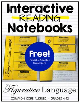 Interactive reading notebook foldable graphic organizer for use with any book or story. Figurative language interactive reading notebook freebie! Eleven types of figurative language are covered. Each section of the foldable has a definition and examples.
